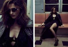 Rachel Weisz  poses on a subway wearing glam looks styled stars in Violet Grey magazine Photoshoot