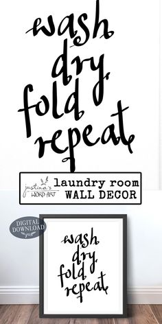 Wash, Dry, Fold, Repeat Laundry Room Decor, Word Art Printable, Retro Decor Wall Art, Minimalist Black and White Downloadable Poster Printable Art, Printables, Wall Art Decor, Room Decor, Art Crafts, Word Art, Fine Art Paper, Laundry Room, Repeat