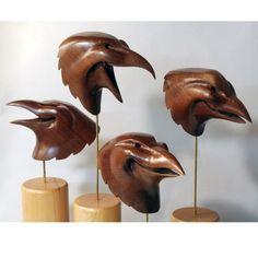 Walnut Crow Raven Masks set of four by jasontennant on Etsy
