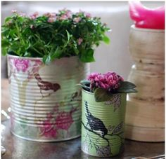 cans into vases, pots, pretty containers | #create #recycle #cando