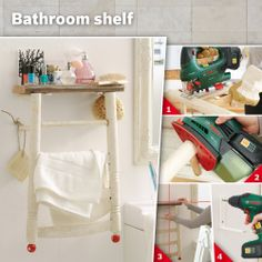 Turn an old chair into a new bathroom shelf simply by turning it upside down: #bathroom #shelf