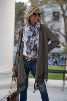 Our Western Inspired Olive Faux Suede Jacket with fringe which is a trend styled with our ivory rayon jersey top you can wear to work or any fun outing 60 Fashion, Over 50 Womens Fashion, Fashion Over 50, Plus Size Fashion, Winter Fashion, Fashion Outfits, Fashion Trends, Fashion Women, Moda Outfits