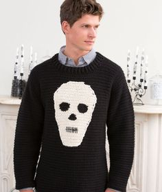 Skull Sweater Free Crochet Pattern from Red Heart Yarns