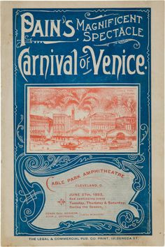 1893 Carnival of Venice Program with Cleveland Spiders Photograph& Calendar…