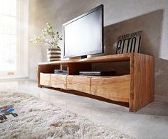 Lowboard Live-Edge 230 cm Akazie massiv Natur 4 Schübe Möbel Tische Fernsehtische