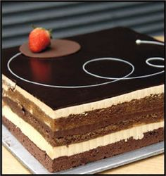 the opera cake for my russian themed birthday party (fabulous Desserts Français, Fancy Desserts, Chocolate Desserts, Delicious Desserts, Chocolate Cake, Chocolate Heaven, Sweet Recipes, Cake Recipes, Dessert Recipes