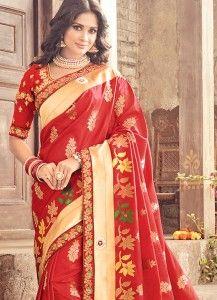 Prepossessing Red Traditional Designer Saree