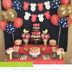 Coral, Navy, and Gold Baby Shower Party Ideas | Photo 1 of 15 | Catch My Party