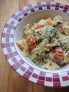 Pasta with Zucchini, Tomatoes and Creamy Lemon-Yogurt Sauce.