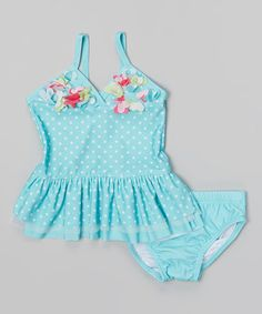 Take a look at this Turquoise & White Polka Dot Tankini by Nannette on #zulily today!