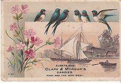 Clark & Morgans Candies Quincy ILL C 813 Schooner Victorian Trade Card c 1880s