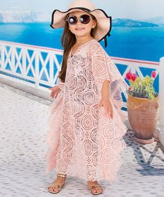Look what I found on #zulily! Blush Crochet Caftan Cover-Up - Toddler & Girls #zulilyfinds