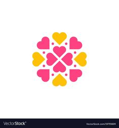 flower heart pattern with beautiful color combination. Download a Free Preview or High Quality Adobe Illustrator Ai, EPS, PDF and High Resolution JPEG versions.