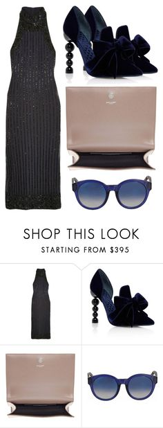 """Midnight Midi"" by cherieaustin on Polyvore featuring Ganni, Tory Burch, Yves Saint Laurent and Gucci"