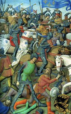 A battle scene, French or Burgundian c. Harness is largely Milanese in appearance. Medieval Horse, Medieval Life, Medieval Knight, Medieval Art, Medieval Manuscript, Illuminated Manuscript, Renaissance Artworks, Medieval Paintings, Historical Art
