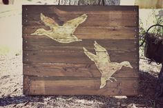 Items similar to Duck Hunting Pallet Wood Art Reclaimed Wood Sign Pallet Decor on Etsy,Have to do this style where the paint is dry brushed on and maybe sanded a little too so that the natural wood shows through and stained afterward. Wood Pallet Signs, Wood Pallets, Unique Home Decor, Home Decor Items, Reclaimed Wood Signs, Palette, Pallet Projects, Pallet Ideas, Art Projects