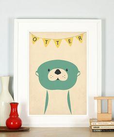 Retro Poster Otter Vintage Kunstdruck Kinderzimmer von EmuDesigns