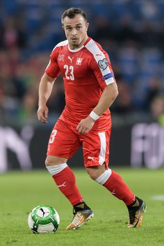 Swiss midfielder Xherdan Shaqiri controls the ball during the FIFA World Cup 2018 football qualifier match between Switzerland and Hungary at the St. Jakob-Park Stadium on October 2017 in Basel. World Cup 2018, Fifa World Cup, Sports Celebrities, October 7, The St, Basel, Physical Activities, Hungary, Premier League