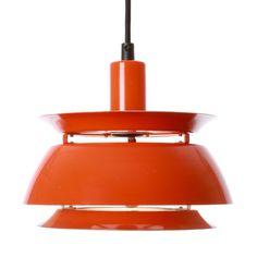 NEVADA pendant by Vitrika - 1960s - Authentic iconic Danish vintage Mid Centry design. Super cute and stylish bright orange hanging lamp.