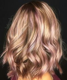 Blonde, pink and rose gold balayage hairstyle Transition To Gray Hair, Hair Color And Cut, Crazy Hair, Great Hair, Hair Day, Hair Inspiration, Cool Hairstyles, Hair Makeup, Hair Cuts