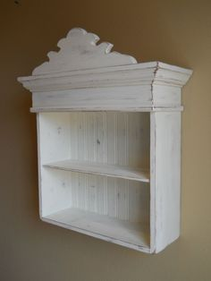 Distressed White Cabinet, Bathroom Cabinet, Kitchen Cabinet, Hanging Wall Cabinet, Shabby Chic Cabinet, Decorative Wall Cabinet. $85.00, via Etsy.