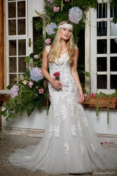 amanda wyatt 2017 bridal sleeveless thick strap v neck lace full embellishment elegant grey trumpet wedding dress sweep train (finley dove) mv