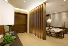 We really liked the partition from this room Living Room Divider, Interior Design Living Room, Living Room Designs, Living Room Decor, Interior Decorating, Wood Partition, Partition Design, Door Design, House Design