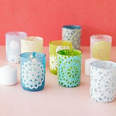 Paper doilies make plain votive candle holders perfectly feminine for Mom!