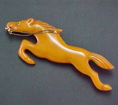 Vintage Butterscotch BAKELITE Running Full Horse Large PIN Book Piece Figural 1930's - 1940's