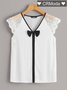 To find out about the Embroidered Mesh Raglan Sleeve Bow Detail Top at SHEIN, part of our latest Blouses ready to shop online today! Blouse Styles, Blouse Designs, Outfit Trends, Mode Style, Diy Clothes, Types Of Sleeves, Baby Dress, Blouses For Women, Women's Blouses