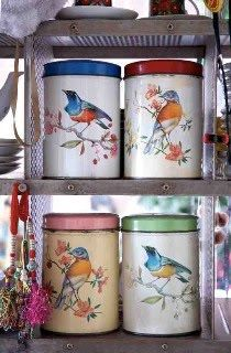 bird tins via Selina Lake's blog...one of my most beloved creatures. That's saying A LOT. I am not a huge animal lover in any way.