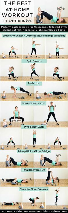The BEST at home workout for women -- especially busy mamas! This strength training workout for women combines full body strength training exercises with quick HIIT cardio bursts, for an effective, quick workout you can do at home! Hiit Workout At Home, Home Workout Videos, Best At Home Workout, Fitness Workouts, Sport Fitness, Workouts Hiit, Health Fitness, Fitness At Home, Full Body Workouts