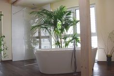 Gemütliches Badezimmer mit bodengleicher Dusche und freistehender Badewanne - Wellnessoase #wohnen #badezimmer #bathroom #bad #badewanne #bathtub #bodengleiche #dusche #holzfliesen #holzhaus #fertighaus #modern #sichtdecke #neubau #interior #einrichten #architektur #architecture #schönerwohnen #wohnen #wellnessoase