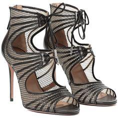 Aquazzura Muse Cutout Cage Sandals (7 300 SEK) ❤ liked on Polyvore featuring shoes, sandals, black, famous footwear, flat shoes, stilettos, black flats and black sandals