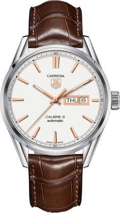 TAG Heuer Watch Carrera Calibre 5 #bezel-fixed #bracelet-strap-alligator…