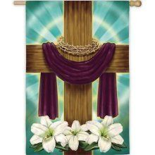 """Draped Cross Flag (Regular Size) by House-Impressions. $15.99. 29"""" x 43"""". A flag is the greeting card of your home. Great for yourself or as a gift. Silk Reflections Flag. The reason to rejoice is captured beautifully upon this Easter flag. A cross draped in purple cloth and surrounded by a crown of thorns stands tall against a background of haloed radiance. Pure white flowers decorate its base. With every wave of this flag in the wind, the handsomeness and holiness of the seaso..."""