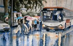 Chinatown Painting - Chinatown Bus Stop by Brian Degnon Human Figure Sketches, Figure Sketching, Architecture Drawing Sketchbooks, Composition Painting, Rain Art, Art Village, Background Drawing, Art Folder, Landscape Drawings