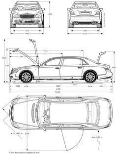 Maybach 62 2007 Blueprint - Download free blueprint for 3D modeling Audi Rs3, Mercedes Benz, Mechanical Engineering Design, Model Cars Building, Concept Motorcycles, Bmw, Parking Design, Car Sketch, Car Drawings