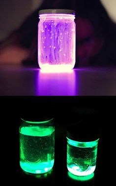Glow stick lanterns! Mason jar + Glow stick. Add water for different effect.
