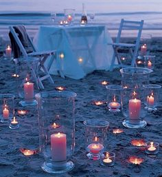 On a beach... candlelight... bare foot with the sand between my toes.