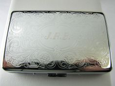 Cigarette/card case with slanted style initials