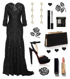 """Monica's wardrobe: outfit 3"" by maryvassilieva on Polyvore featuring Jenny Packham, Christian Louboutin, Jennifer Meyer Jewelry, Jimmy Choo, Gucci and Chanel"