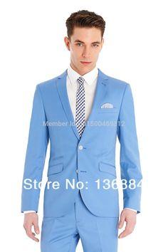Mens Royal Blue 3 Piece Suit Work Wedding Prom Party Blazer ...