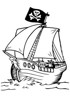 Pirate Ship Drawing Crafts Art Kids Party Coloring Pages For Craft Ideas Bateau Searching Pj