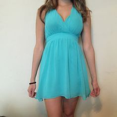 Express light blue spring/summer dress Light blue, halter top, new with price tag, size 6 Express Dresses Mini