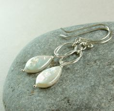 White Pearl      Earrings      Sterling Silver     by hildes, $33.00
