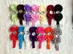 hot sale children infant baby girls chiffon/chevron flower hairband accessories headband hair band elastic lace children head