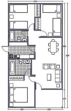 Plano de 120 m2 para casa de 8x15 metros planos de casas for Cuarto 4x4 metros