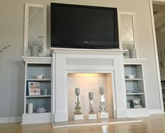 Faux fireplace with built in