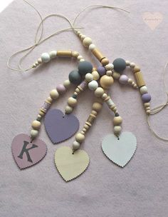 Personalized wooden bead garland wood bead hanging by Renouitas